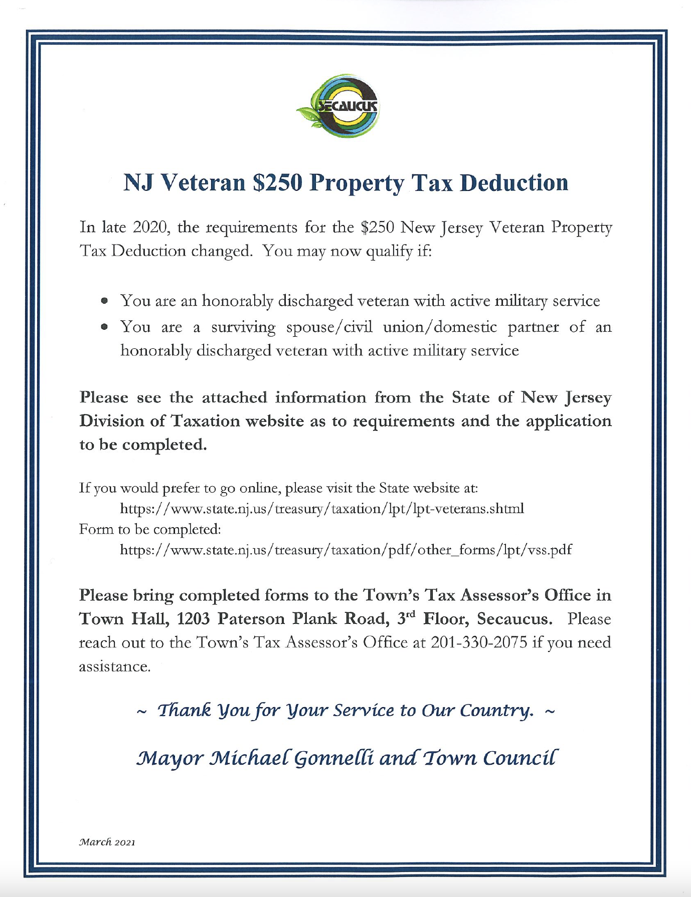 NJ Veteran $250 Property Tax Deduction